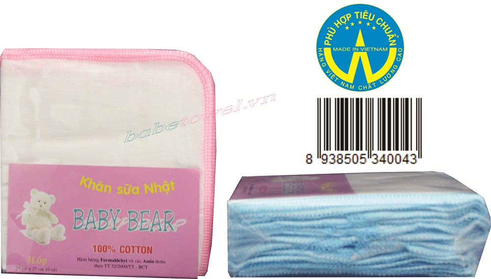 khăn sữa sợi mịn Baby Bear 3 Lớp 10 cái 25 cm x 27 cm
