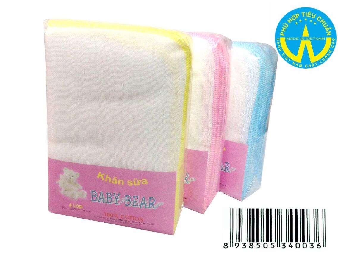 khăn sữa Baby Bear 4 Lớp 10 cái 25 cm x 35 cm