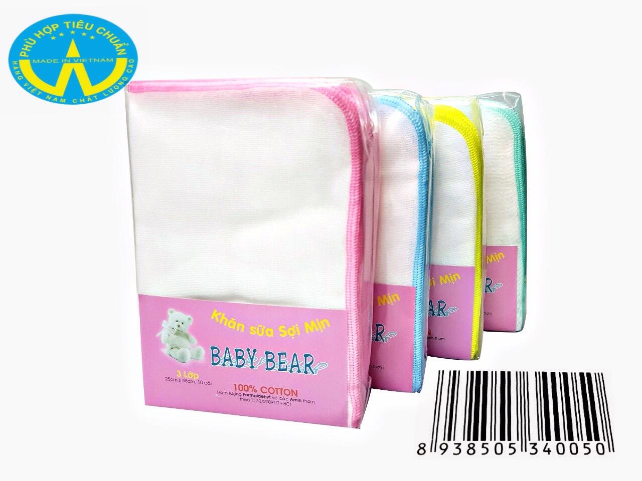 khăn sữa sợi mịn Baby Bear 3 Lớp 10 cái 25 cm x 35 cm