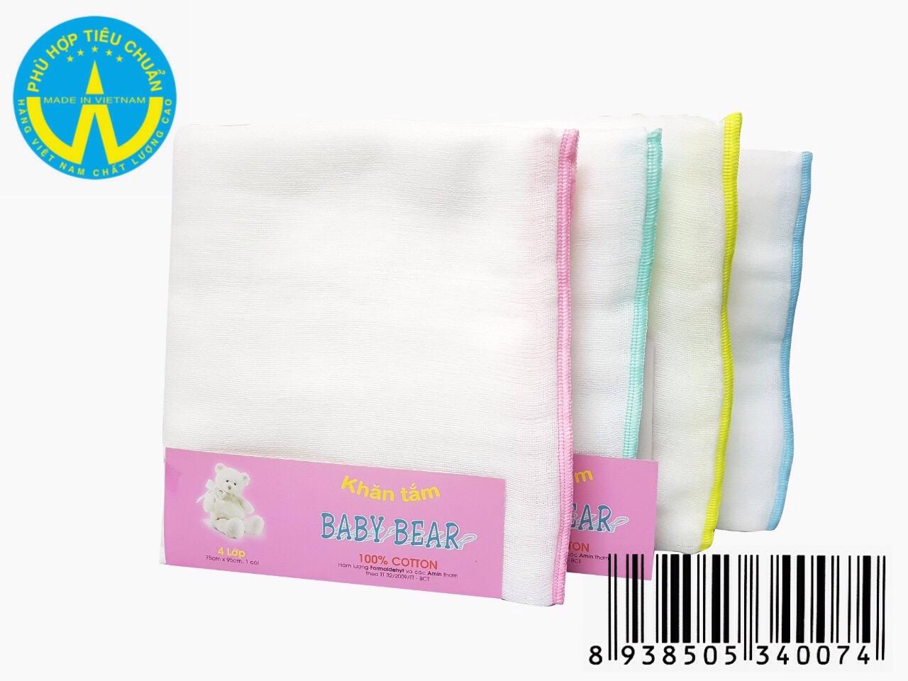 Khăn tắm Baby Bear 4 lớp 1 Cái 75 cm x 95 cm