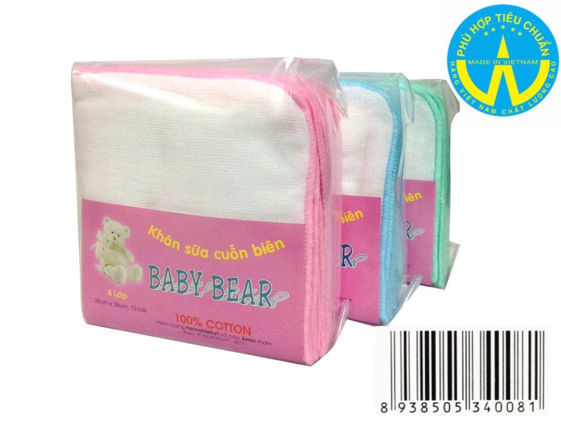 Khăn sữa cuốn biên Baby Bear4 Lớp 10 cái 25 cm x 28 cm