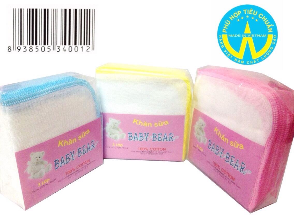 khăn sữa Baby Bear 3 Lớp 10 cái 25 cm x 27 cm