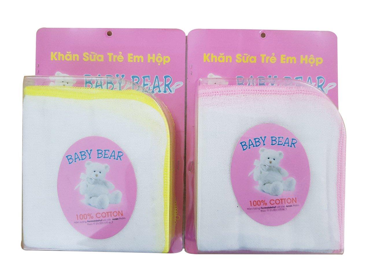 Khăn sữa Baby Bear hộp 3 Lớp 10 cái 25 cm x 25 cm